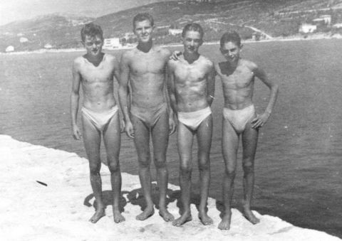 Štafeta 4x50 mješovito, Crikvenica 1950. Ivan Balaš, Antun Poleščuk, Tomislav Jagić i Zvonko  Bombel, prvak FNRJ